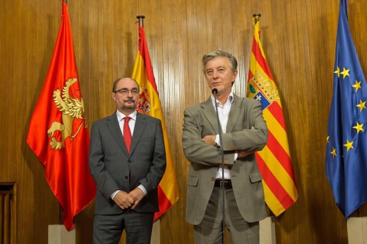 Lambán y Santisteve, en una comparecencia conjunta