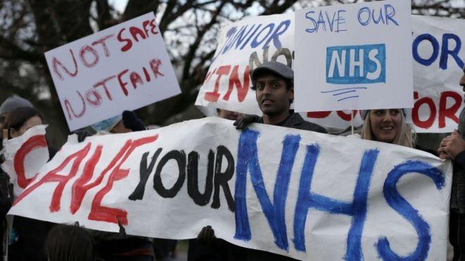 protesta por la privatización del sistema de salud inglés