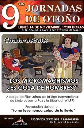 'Los micromachismos: ¿Es cosa de hombres?': hoy, charla-debate en las Jornadas de Otoño