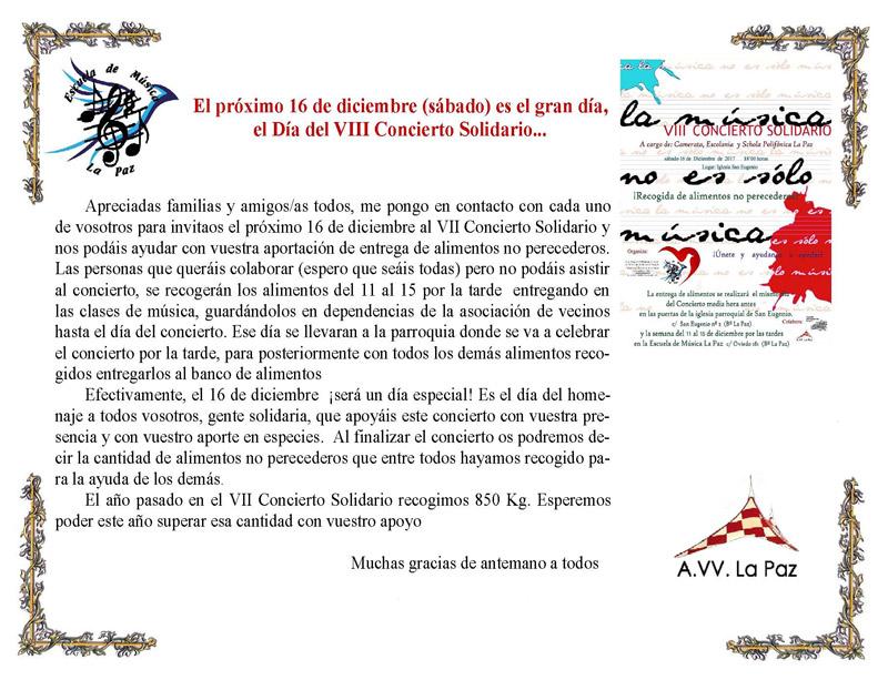 Invitación al VIII Concierto Solidario La Paz