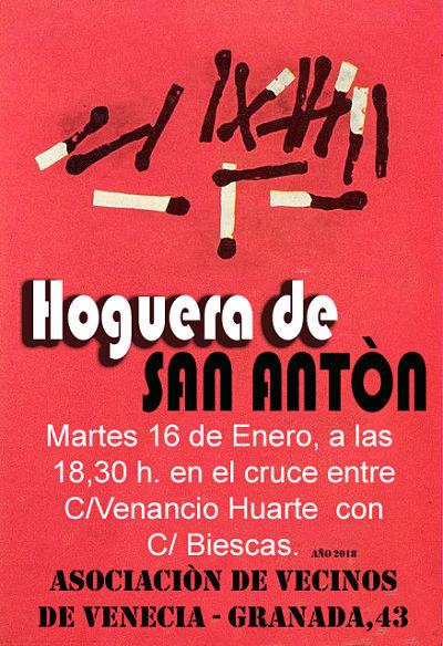 Cartel Hoguera de San Antón 2018
