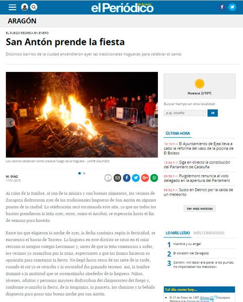 NOticia Hoguera San Antón El Periódico de Aragón