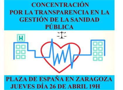 Concentración por la transparencia en la gestión de la Sanidad Pública en Aragón