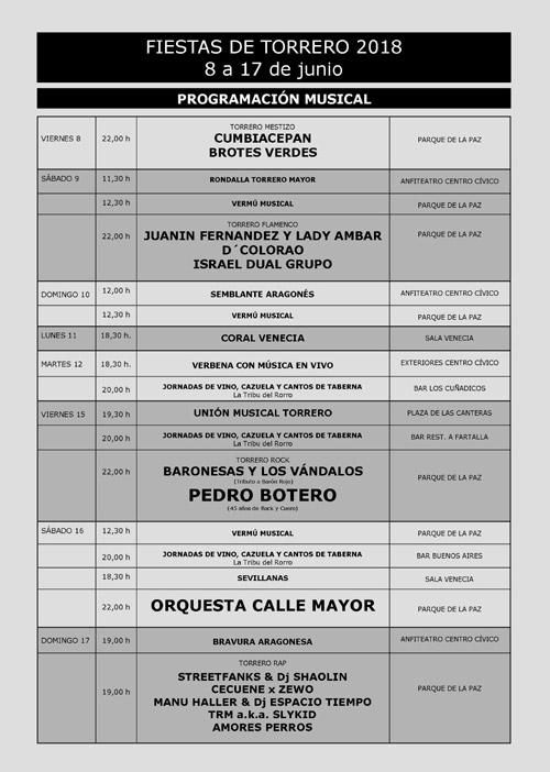 Fiestas de Torrero 2018 Actuaciones Musicales