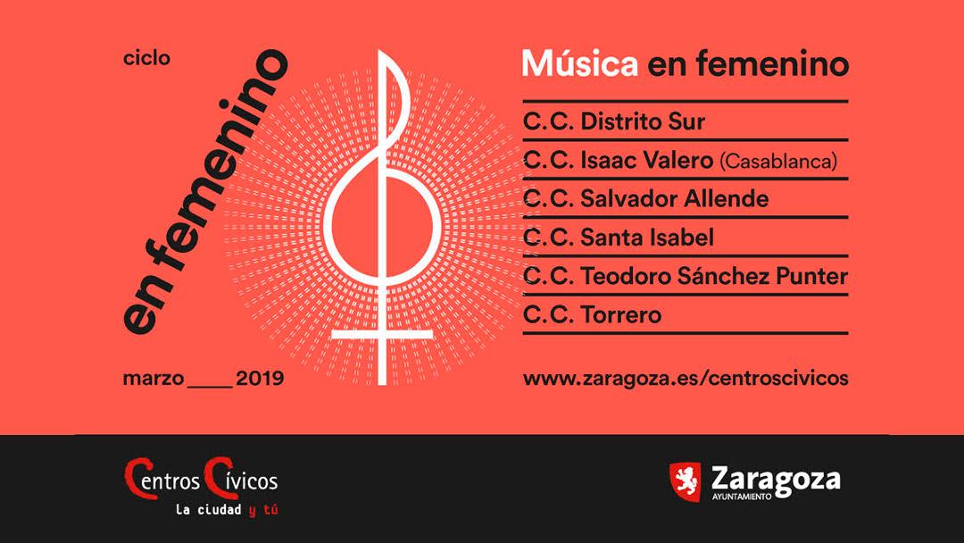 Cartel Ciclo de Música En Femenino Zaragoza 2019