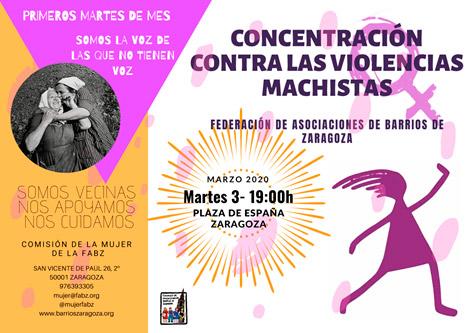 Cartel Concentración contra la violencia Machista 03-03-2020