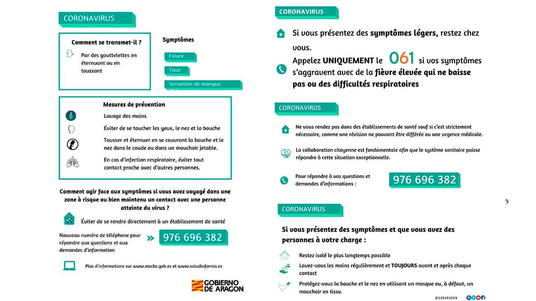 Coronavirus Instrucciones Francés Gobierno de Aragón