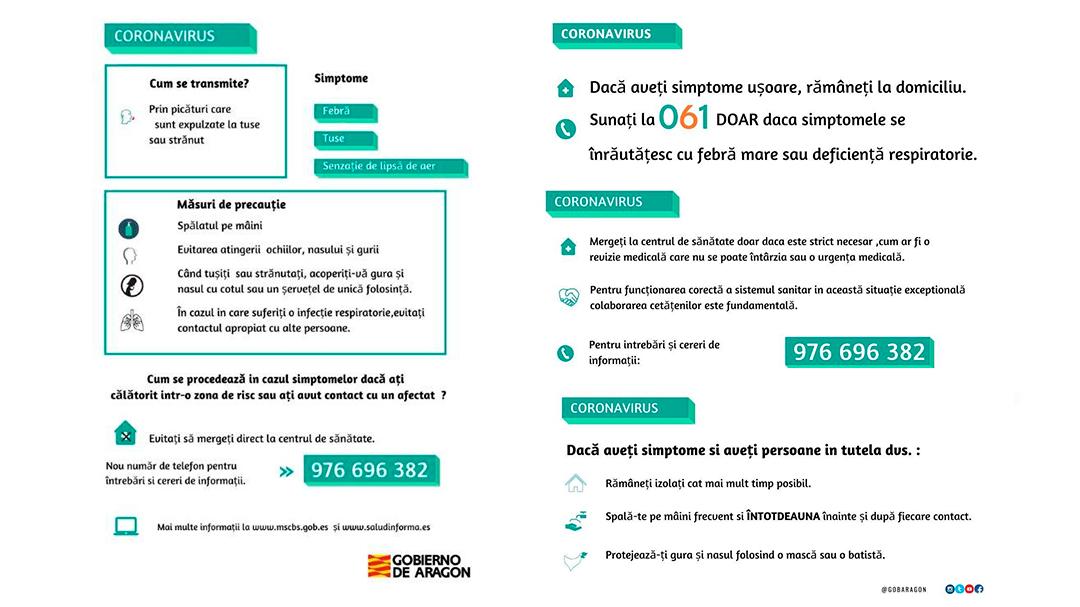 Coronavirus Instrucciones Rumano Gobierno de Aragón